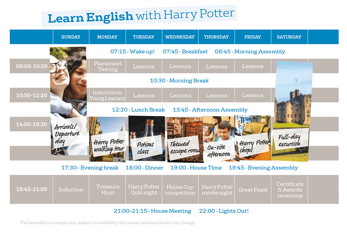 Course timetable Learn English with Harry Potter